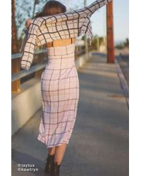Urban Outfitters - Uo Cher Plaid Satin Midi Dress - Lyst