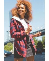 BDG - Darcy Plaid Flannel Hooded Button-down Shirt - Lyst