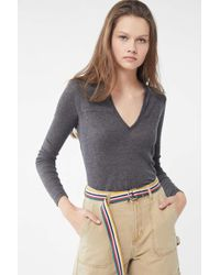 Truly Madly Deeply - Ribbed Notch Henley Top - Lyst