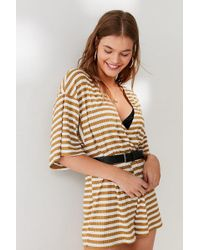 Urban Outfitters - Uo Ribbed Knit Surplice Romper - Lyst