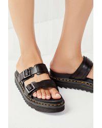 0a4c73f801a6 Dr. Martens Myles Maroon Slider Sandals in Black - Lyst