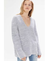 Urban Outfitters Uo Victoria Oversized V-neck Sweater - Gray
