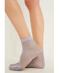 Urban Outfitters - Shimmer Stripe Lilac Socks - Lyst