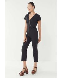 b92d9343d329 Lyst - Urban Outfitters Uo Tootsie Button-down Cropped Jumpsuit in Black