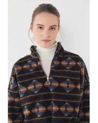 Urban Outfitters - Uo Southwestern Fleece Half-zip Pullover Sweatshirt - Lyst