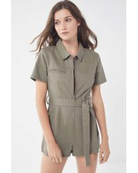 af10efdc608 Lyst - Urban Outfitters Uo Bellina Button-down Shirt Romper in Blue