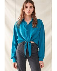 Urban Outfitters - Urban Renewal Recycled Silky Tie-front Top - Lyst
