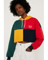 Urban Outfitters - Uo Usa Colour Block Crop Hoodie - Lyst