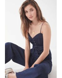 Lucca Couture - Veronica Lace-up Denim Jumpsuit - Lyst
