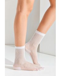 Out From Under - White Fishnet Crew Socks - Lyst
