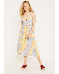 5b9bccbbc8 Urban Outfitters - Uo Emilia Chevron Stripe Button-through Midi Dress -  Womens S -