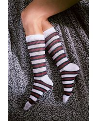 Urban Outfitters - Burgundy Rugby Stripe Socks - Lyst