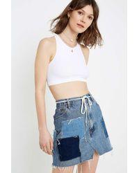 defa2dcd Urban Renewal - Remade Levi's Light Wash Patch Denim Skirt - Womens Xs -  Lyst