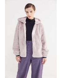Urban Outfitters - Uo Faux Fur Hooded Zip-front Jacket - Lyst
