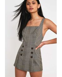 7d8fc04be3cd Urban Outfitters - Uo Cassidy Checked Button-front Playsuit - Womens Xs -  Lyst