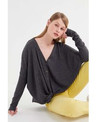 e5a65a52208f7 Out From Under - Jojo Oversized Thermal Button-front Top - Lyst