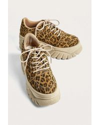 Urban Outfitters - Uo Tyson Leopard Print Suede Chunky Trainers - Womens Uk 3 - Lyst