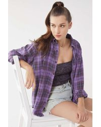 Urban Renewal - Vintage Overdyed Button-down Flannel Shirt - Lyst