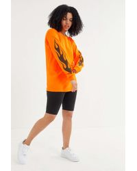 46ca6bd552 Urban Outfitters - Uo Flame Oversized Long Sleeve Tee - Lyst