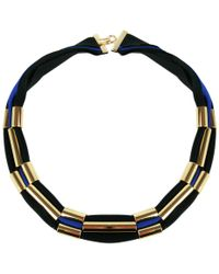 Marion Vidal - Black And Blue Polyester Ribbon Necklace - Lyst