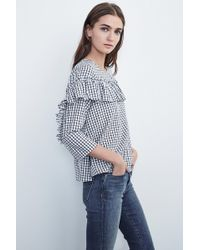 Velvet By Graham & Spencer - Melody Cotton Check 3/4 Sleeve Ruffle Top - Lyst