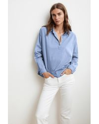f9232921f6af90 Mango - Gina Woven Cotton Popover Shirt In Mist - Lyst