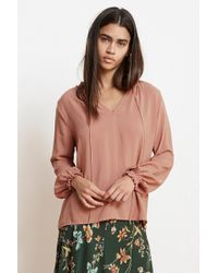 Velvet By Graham & Spencer - Samantha Rayon Challis Peasant Tie Top - Lyst