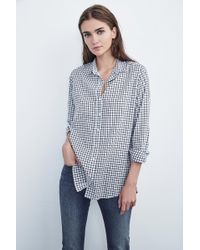 Velvet By Graham & Spencer - Rufina Cotton Check Button Up - Lyst
