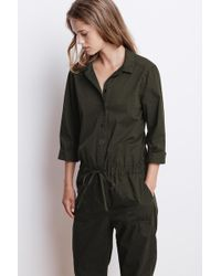 Velvet By Graham & Spencer - Saylor Cotton Twill Button Up Jumpsuit - Lyst