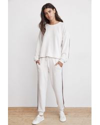 Velvet By Graham & Spencer - Jetta Metallic Trim Luxe Fleece Sweatpant - Lyst