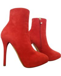 Ralph Lauren Collection - Red Suede Ankle Boots - Lyst