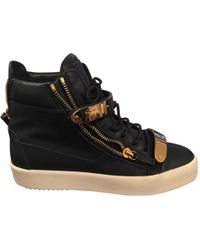 Giuseppe Zanotti - Pre-owned Navy Leather Trainers - Lyst