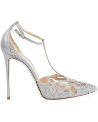 Rene Caovilla Silver Glitter Heels - Metallic