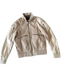Roberto Cavalli - Beige Leather Jacket - Lyst