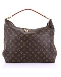 Louis Vuitton - Pre-owned Sully Brown Cloth Handbags - Lyst