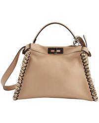 0a997a8a32 Fendi - Pre-owned Peekaboo Beige Leather Handbags - Lyst