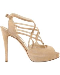 Brian Atwood - Pre-owned Beige Suede Heels - Lyst