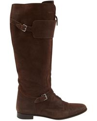 Hermès - Jumping Brown Suede Boots - Lyst