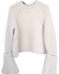 eddeef7cec3 Céline Wool Crewneck Sweater in White - Lyst