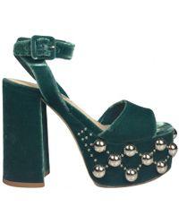 3eac320b9c9 Gianvito Rossi Roxy Velvet Platform Sandals in Blue - Lyst
