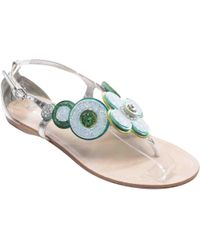 730591ce8bb Lyst - Miu Miu Metallic Leather Strappy Slides in Metallic