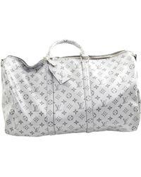 Louis Vuitton - Keepall Silver Cloth Bag - Lyst
