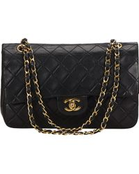 Chanel - Vintage Timeless/classique Black Leather Handbag - Lyst