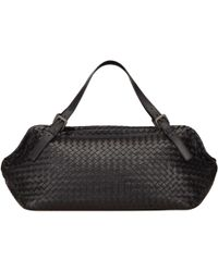 0b5d850ab7 Lyst - Bottega Veneta Intrecciato-trimmed Handle Bag Black in Natural