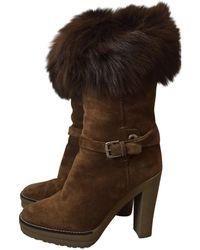 Ralph Lauren Collection - Brown Suede Boots - Lyst