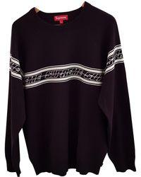 Supreme - Pre-owned Black Cotton Knitwear & Sweatshirt - Lyst