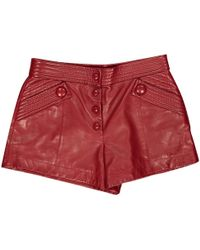 Louis Vuitton - Red Leather Shorts - Lyst