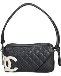 e1b839d1857203 Chanel - Pre-owned Cambon Black Leather Handbags - Lyst