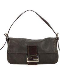 ec6c555955f9 Fendi - Pre-owned Baguette Black Leather Handbags - Lyst