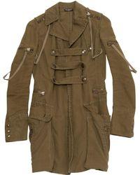 Balmain - Khaki Cotton Coat - Lyst